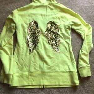 Victoria's Secret neon yellow wing zip up
